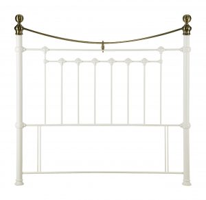 Victoria Metal Headboard in Stone White