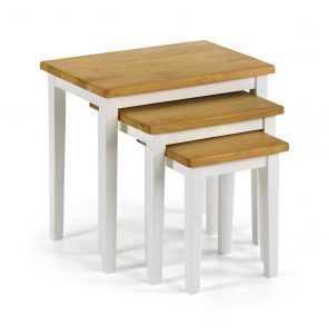 Cleo Nest Tables White plus Oak Finish