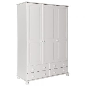 Copenhagen 3Door 4Drawer Wardrobe White