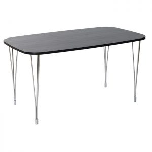 Designa Dining Table Chrome Legs Black