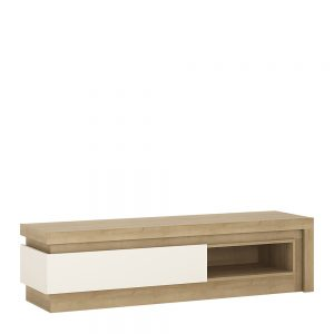 Lyon 1 Drawer TV Cabinet Riviera Oak White High Gloss
