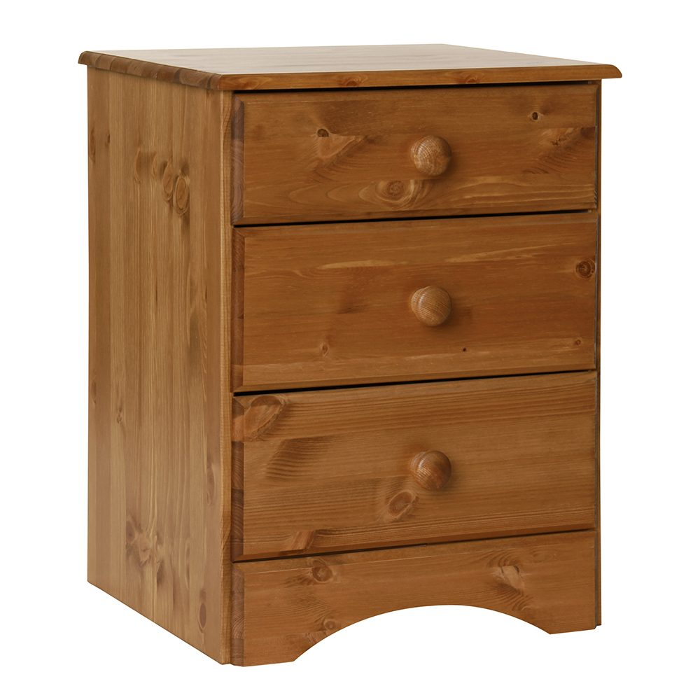 Scandi 3 Drawer Bedside Pine