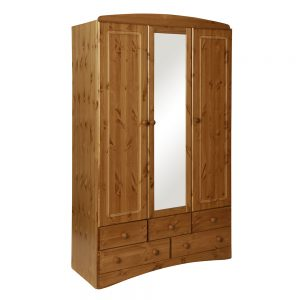 Scandi 3 Door 5 Drawer Wardrobe Pine