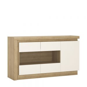 Lyon Glazed Sideboard Riviera Oak White High Gloss