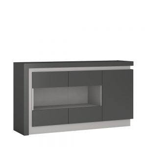 Lyon Glazed Sideboard Platinum Light Grey Gloss