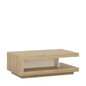 Lyon Designer Coffee Table Riviera Oak White High Gloss
