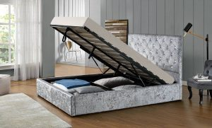 Chatsworth Silver Crushed Velvet Ottoman Storage Bed