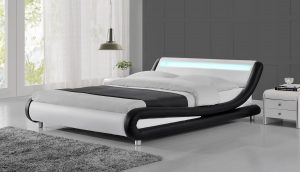 LED Lights Designer Black & White Bed Frame