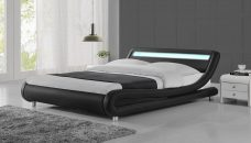 LED Lights Modern Designer Black Bed Frame