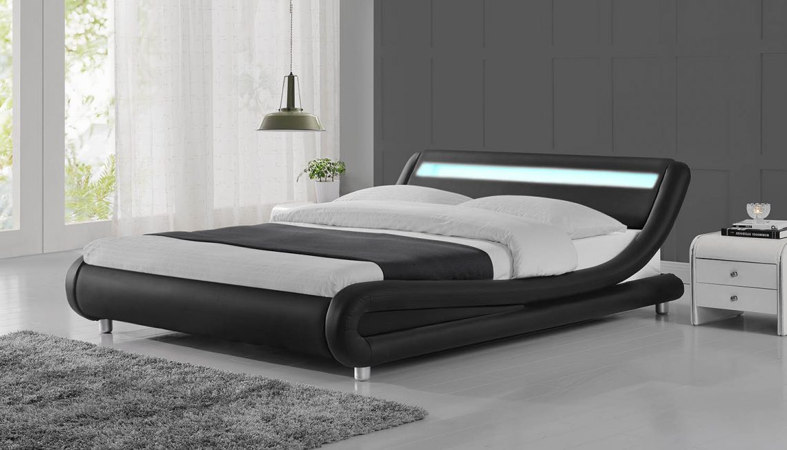 Led Lights Modern Designer Black Bed Frame Crazy House