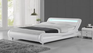 LED Lights White Modern Designer Bed Frame