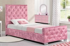 Beaumont Crushed Velvet Single Bed Pink