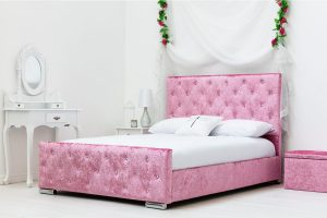 Beaumont Crushed Velvet Double Bed Pink