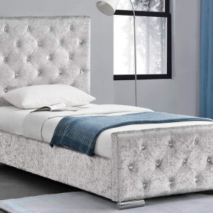 Beaumont Crushed Velvet Single Bed Silver