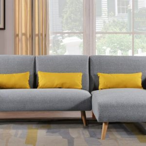 Los Angeles Light Grey Fabric Corner Sofa Bed & Chaise