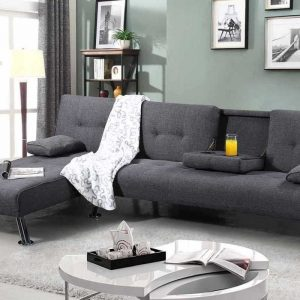 New York Grey Upholstered Corner Sofa Bed & Chaise