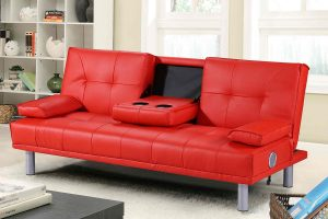 Manhattan Red Faux Leather Sofa Bed With Bluetooth Speakers