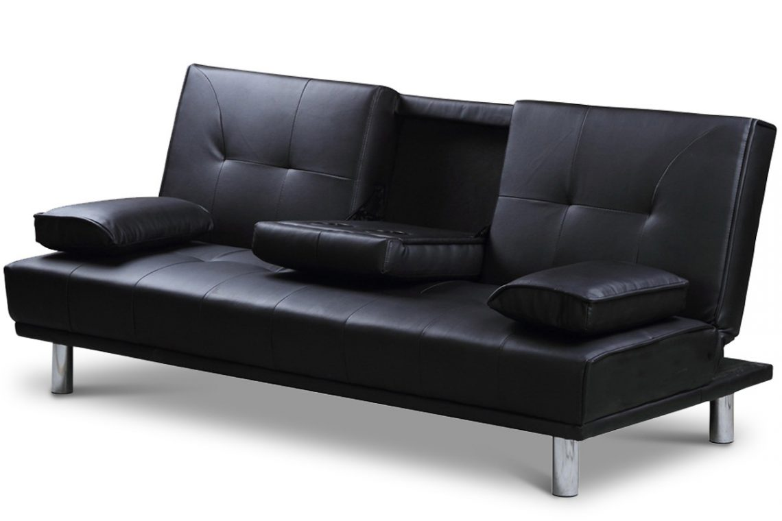 Manhattan Black Faux Leather Sofa Bed Crazy House