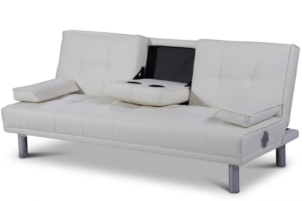 Manhattan White Faux Leather Sofa Bed With Bluetooth Speakers