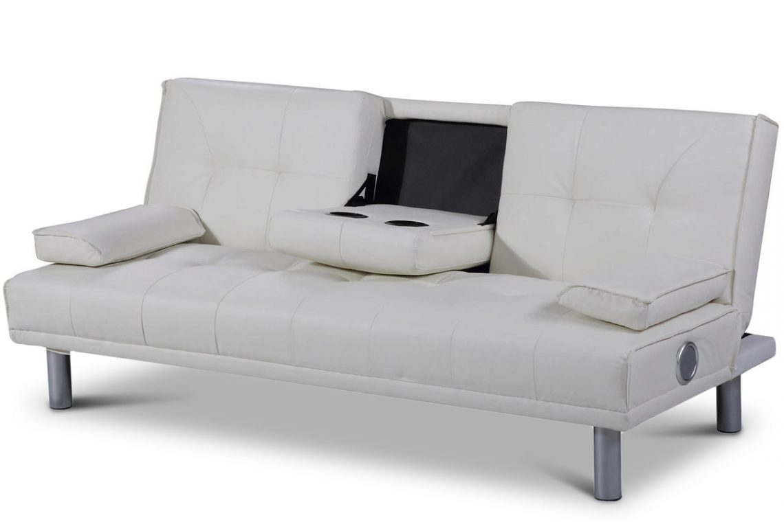 Wondrous Manhattan White Faux Leather Sofa Bed With Bluetooth Speakers Lamtechconsult Wood Chair Design Ideas Lamtechconsultcom