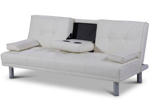 Manhattan White Faux Leather Sofa Bed