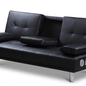 Manhattan Black Faux Leather Sofa Bed With Bluetooth Speakers