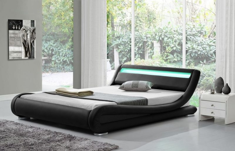Leo Designer Curved LED Bed - KingSize