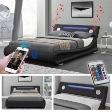 Leo Designer LED Ottoman Bluetooth Bed - Double
